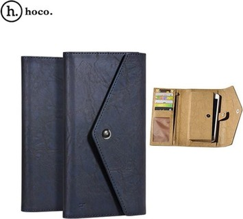 HOCO Portfolio 2 Series Universal PU Leather Wallet Case For All Smart Phones - Blue