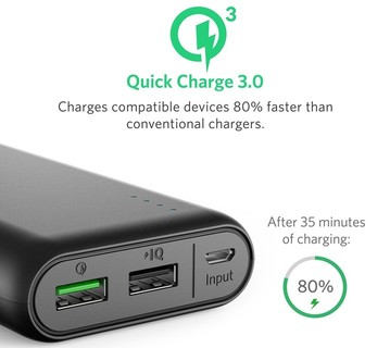 Anker PowerCore 20000 with Quick Charge 3.0, Portable Charger - Black (A1272H11)