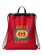 حقيبة ظهر برباط من الجلد بطبعة Gucci Gucci