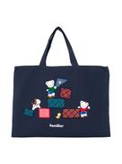 Familiar Lia and Fami embroidered denim tote bag