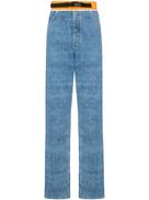 Maison Margiela بنطلون جينز بقصة مستقيمة وحزام خصر متباين