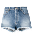 Alanui Navajo-style embroidered denim shorts