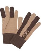 Fendi cashmere striped gloves