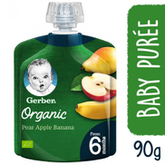Gerber Organic Pear Apple Banana Puree Baby Food 90 g From 6 Months