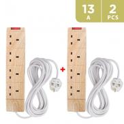 Masterplug Wood Type Extn 4 Way With Wire - UG2WD 2 PCS