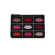 Lulu Guiness Black purse multicolored lip prints