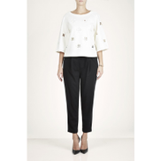 Tibi Embroidered jersey top