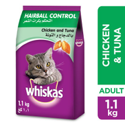 Whiskas Hairball Control with Chicken & Tuna Dry Food Adult 1+ Years, 1.1kg