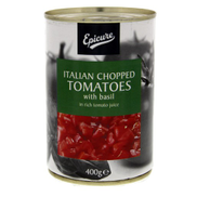 Epicure Italian Chopped Tomatoes With Basil In Rich Tomato Juice 400g